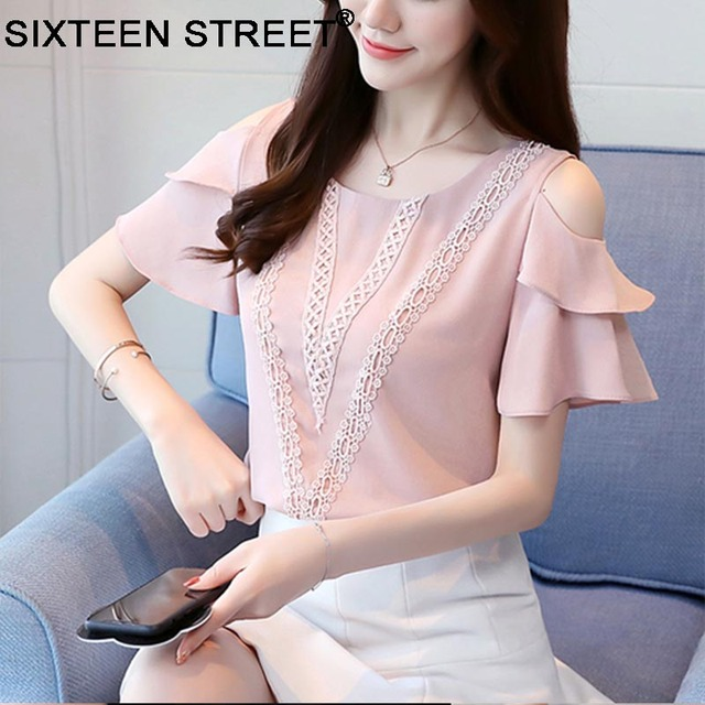 ae1ba7bdc20f3e New korean women tops Women Clothing fashion short sleeve chiffon Blusas  Femininas Blouses & Shirts Women