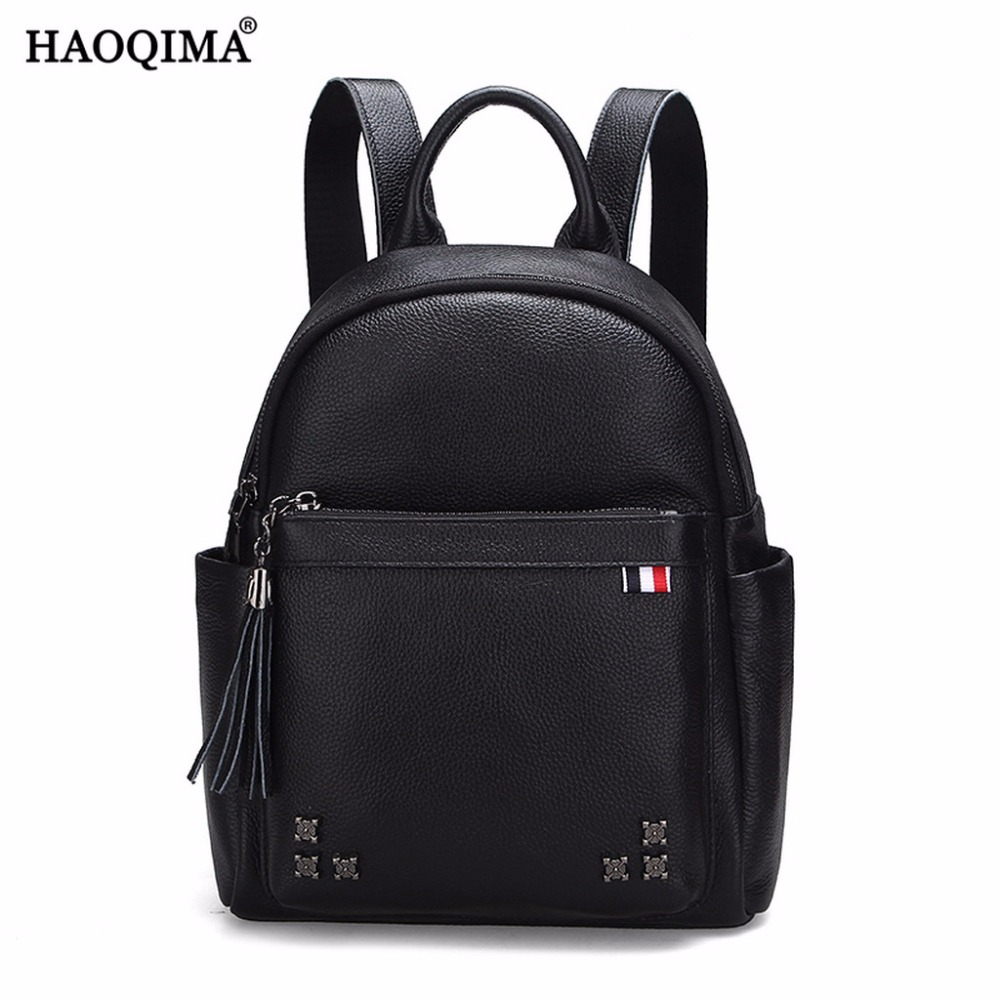 HAOQIMA Fashion Teenagers Girls Female Ladies Genuine Leather Backpacks Real Cowhide Women Backpack Shoulder Bag twenty four women backpacks genuine leather ladies travel backpack for teenagers girls bucket bag vintage real leather mochilas
