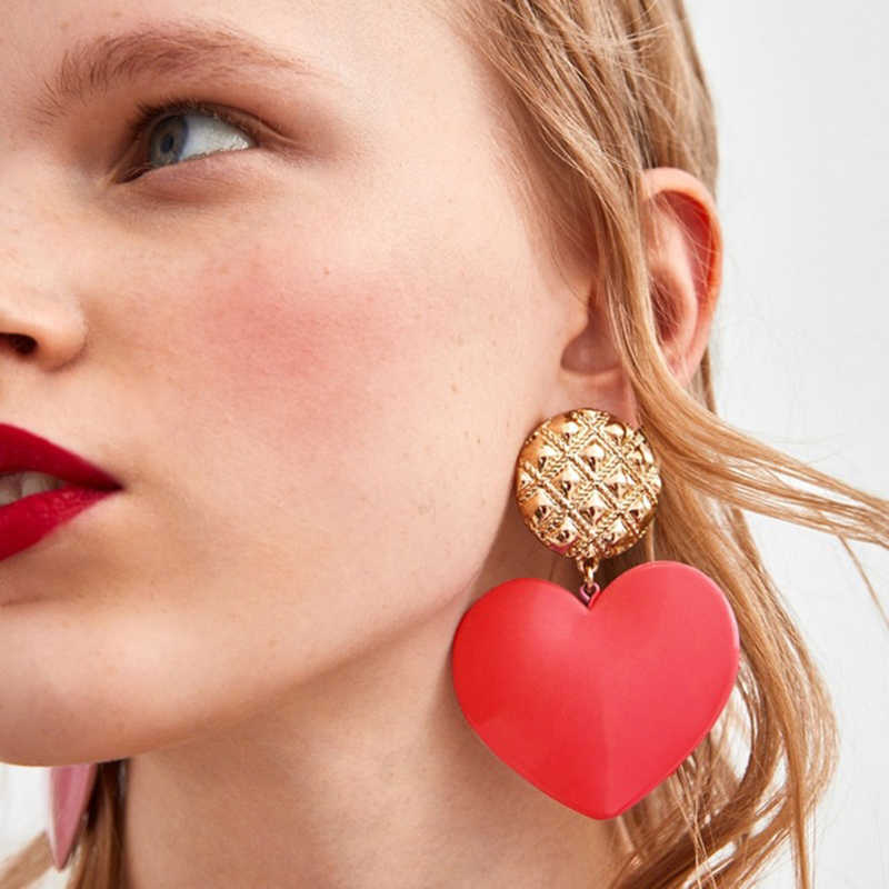 Dvacaman Romantic Red Heart Statement Earrings For Women Female Pendientes Big Drop Dangle Earrings ZA Jewelry Party Gifts AD1