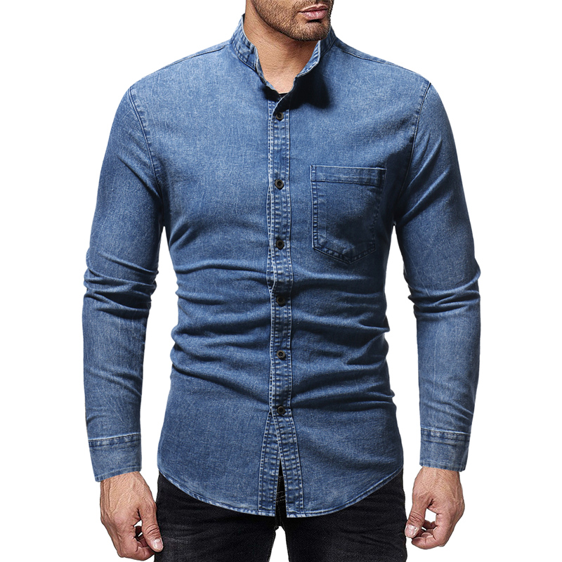Brand 2018 Fashion Male Shirt Long-Sleeves Tops New Stand Collar Washed Jeans Mens Dress Shirts Slim Men Shirt