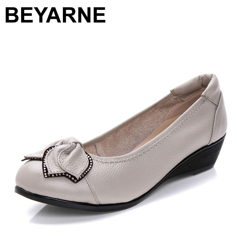 BEYARNE Genuine Leather Women High Heels Handmade Brand Fashion Women Shoes High Heel Black Slip On Casual Wedges Women Pumps