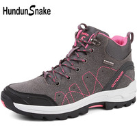 Hundunsnake High Mountain Boots Women Trekking Boots Gray Female Hiking Shoes Woman Outdoor Shoes Tracking Sneakers Women T537