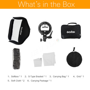 Image 2 - Godox 24*24inch 60 * 60cm Honeycomb Grid Softbox + S type Bracket Mount Bowens Mount Kit for Canon Nikon Speedlite Flash Softbox