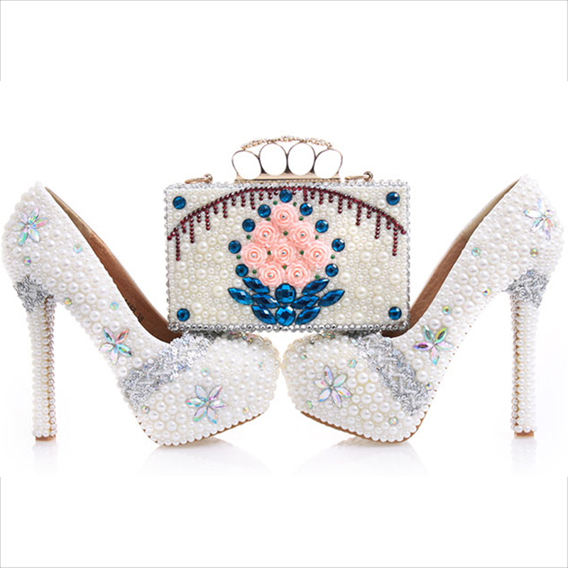 Wedding Pumps Women Shoes and Bags to Matching Crystal Platform Bride Shoes Pearl Rose Purse High Heels Genuine Leather Big Size
