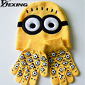 [Dexing]Minions Hats Glove Set Baby Boys Cartoon Winter Knitted Caps for Children Skullies Beanies  gorros new year gift