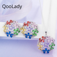 QooLady Fashion Multicolor Green Bule Hollow Cubic Zircon Necklaces and Earrings Flower Round Ladies Jewelry Set for Party Z007