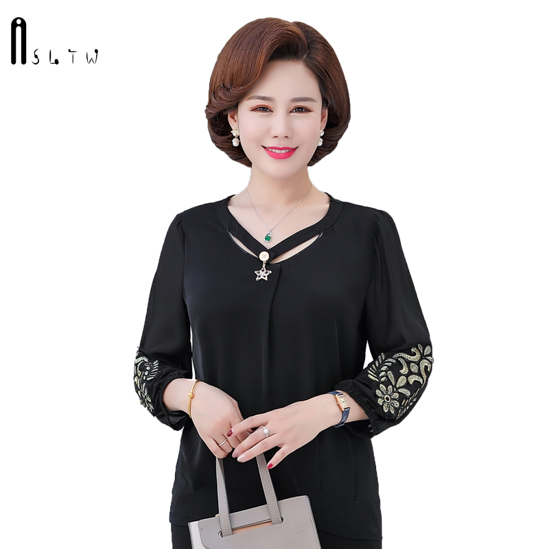 ASLTW Chiffon Blouse Spring Autumn Long Sleeve Loose Women's Shirt New Plus Size O Neck Elegant Top OL Female Blouse|Blouses & Shirts| |  - title=