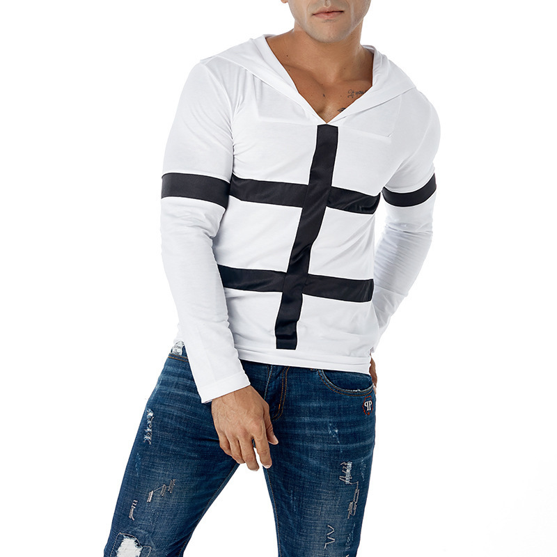 Hat Sanitary-Clothes Long-Sleeved Printed Stripe Fashion European for Men And American