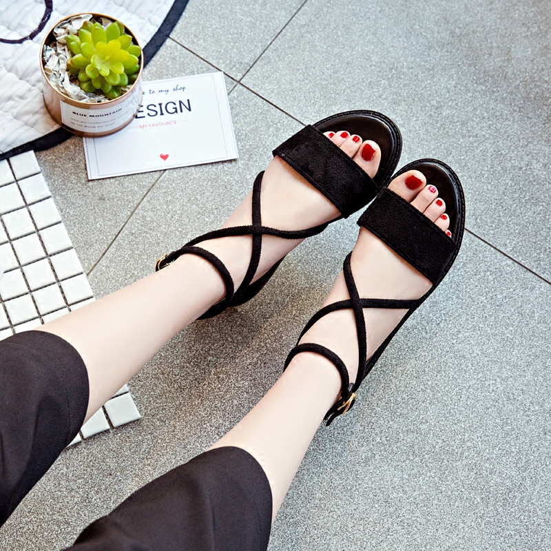 81210ef1edd nubuck women Suede Female open toe shoes Peep Toe lady flats Footwear cross  strap woman Sexy Buckle strap Sandals black Beige-in Women s Sandals from  Shoes ...