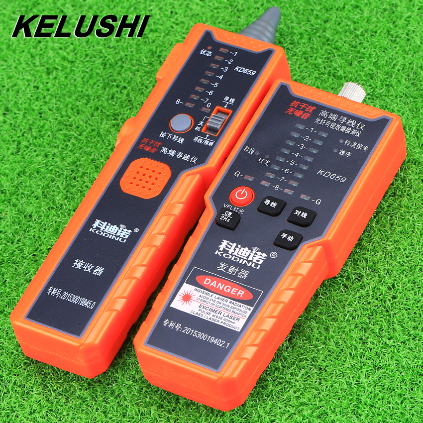 KELUSHI KD659 Cable Tester anti-jamming noise-free high-end network line-Finder red light source line engineering fast shipping kd 1 network cable installation tool white grey