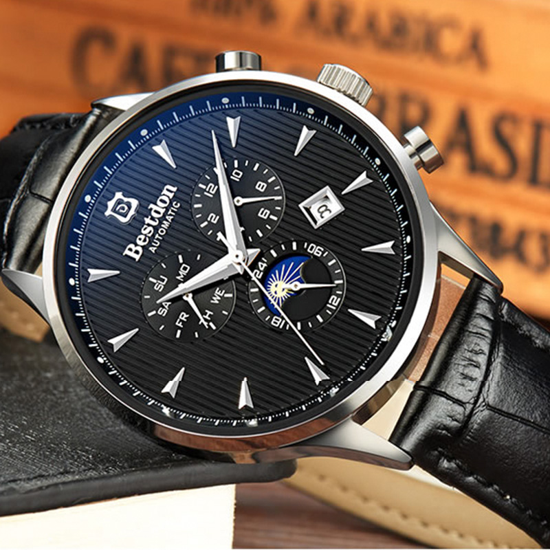Image 2 - Bestdon Luxury Brand Watch Men Automatic Mechanical Watch Business Casual Switzerland Watches Moon Phase Blue Leather Strap 7116-in Mechanical Watches from Watches