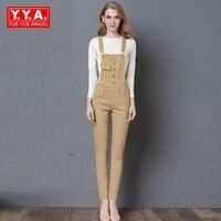 2017 Yeni Geliş Moda Kadınlar Düğme Rahat Uzun Pantolon Tulumlar Yüksek Bel Kadın Playsuits Kore Tarzı Gevşek Fit Plus Boyutu