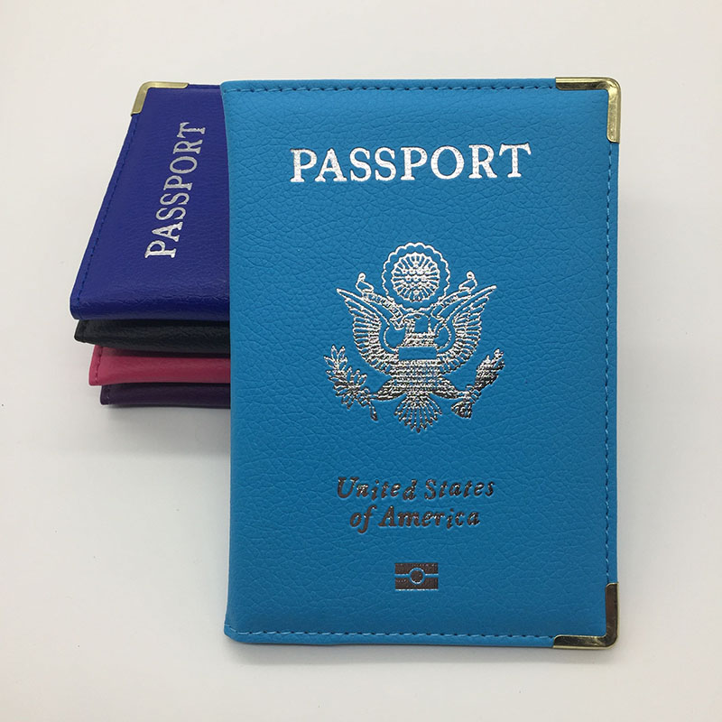 Metal Edge Leather Passport Cover Unisex USA Passport Holder Passport Case Women Airport <font><b>Ticket</b></font> Card Holder Passport Protective