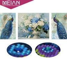 Meian, особой формы, Алмазный Вышивка, животных, павлин, цветок, полный, Алмазный живопись, вышивка крестом, Алмазная мозаика, фотография, Декор