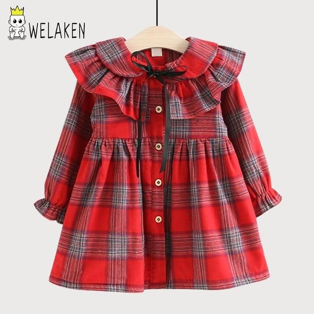 Welaken оборками Обувь для девочек платье бренда Детская одежда плюс бархат зима теплая платье в клетку с бантом модное детское платье