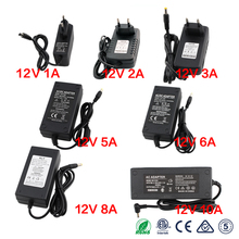 LED Power Supply Adapter 12V 1A 2A 3A 5A 6A 7A 8A 10A Universal AC/DC Adapter Switching Charger 220V To 12V Led Driver Power цена и фото