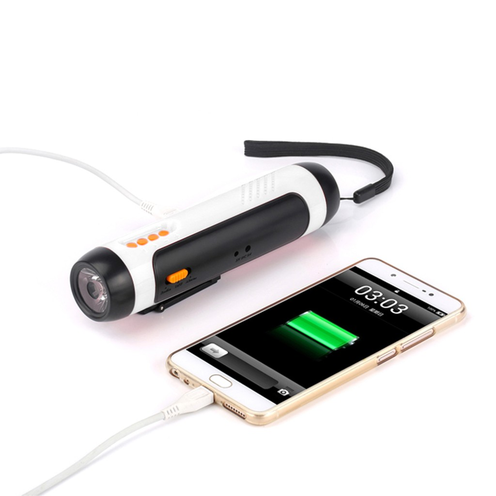 Alarm FM Radio Mobile Phone Charging Hand-operated Powerful Generate LED Torch 4