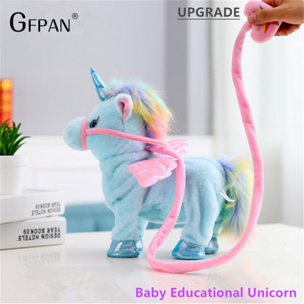 1pc 35cm Walking Unicorn Plush Toy Stuffed Animal Toy Electronic Music Unicorn Toys For Children Funny Christmas Gifts