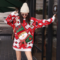 Weird girl 2018 autumn and winter new loose large size ladies sweater red Christmas doll jacket thickening long sweater women