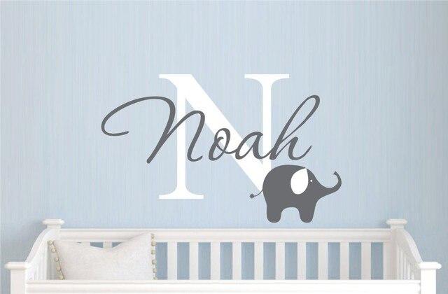 Customer Made Custom Elephant Name Wall Sticker Decal For Boys Decor Nursery Removable