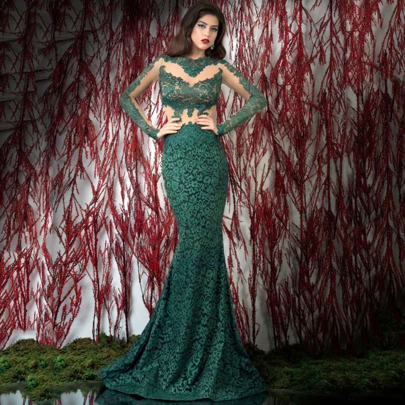 New Floor Length   Evening   Gowns Sheer Crew Neckline Lace Mermaid Long Sleeve Green   Evening     Dresses   2015