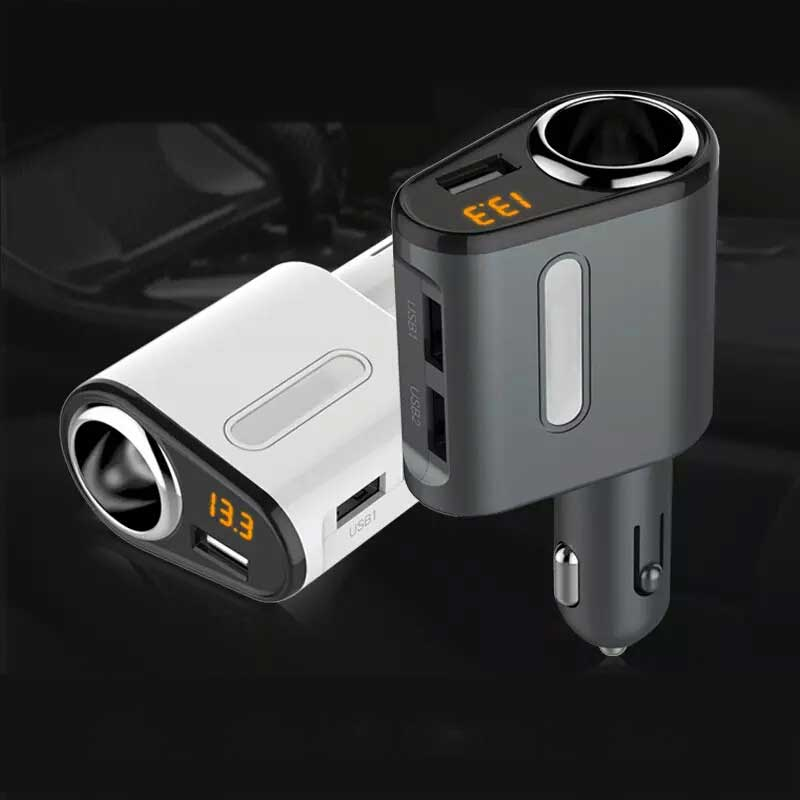 hot Car Charger 3 USB Ports and 1 Socket Cigarette Lighter