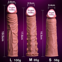 Realistic Penis Skin Feeling TPE Semen Lock Sleeve Cover Dildo Enlarger Delay Man Adult Sex Toys Products