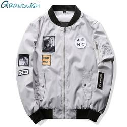 Grandwish/модные Для мужчин Курточка бомбер хип-хоп патч дизайн Slim Fit пилот Курточка бомбер пальто Для мужчин Куртки Плюс Размеры 4XL, PA573