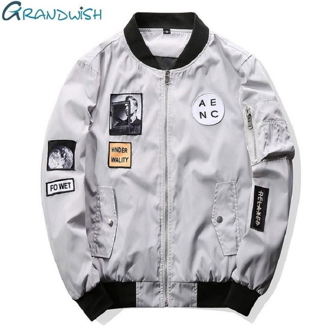 013c5d2e07a Grandwish Fashion Men Bomber Jacket Hip Hop Patch Designs Slim Fit Pilot Bomber  Jacket Coat Men