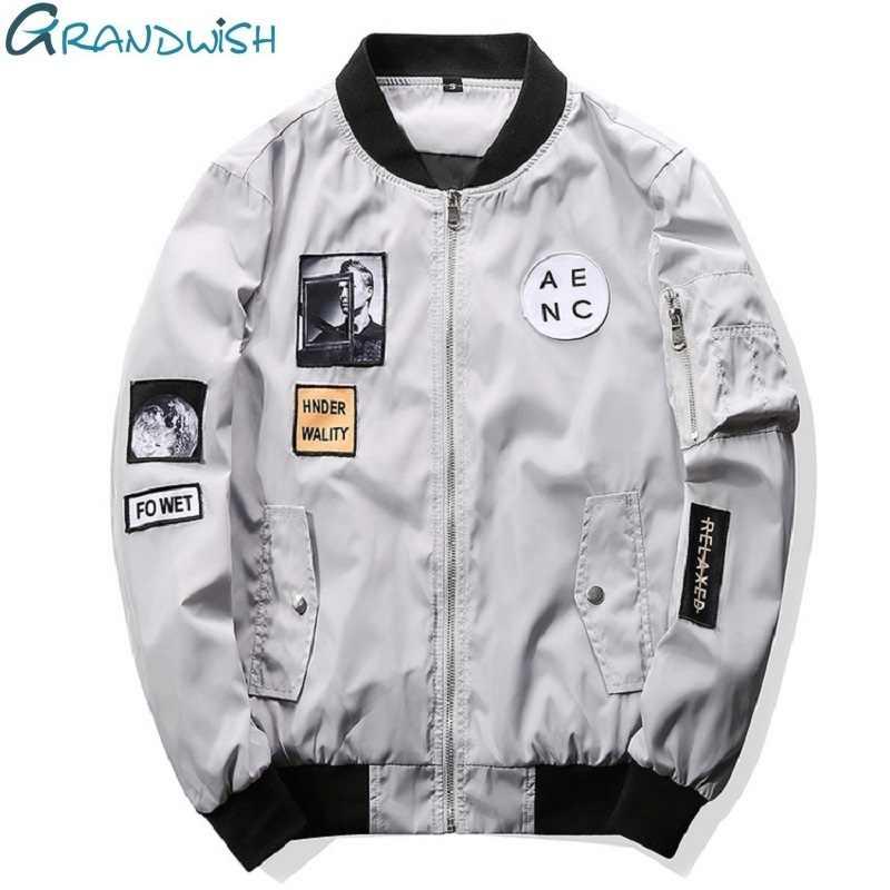 ac21dd6d6 Grandwish Fashion Men Bomber Jacket Hip Hop Patch Designs Slim Fit ...