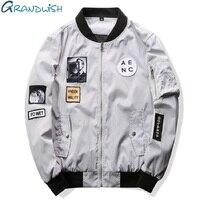 Grandwish 2016 New Men Bomber Jacket Hip Hop Patch Designs Slim Fit Pilot Bomber Jacket Coat