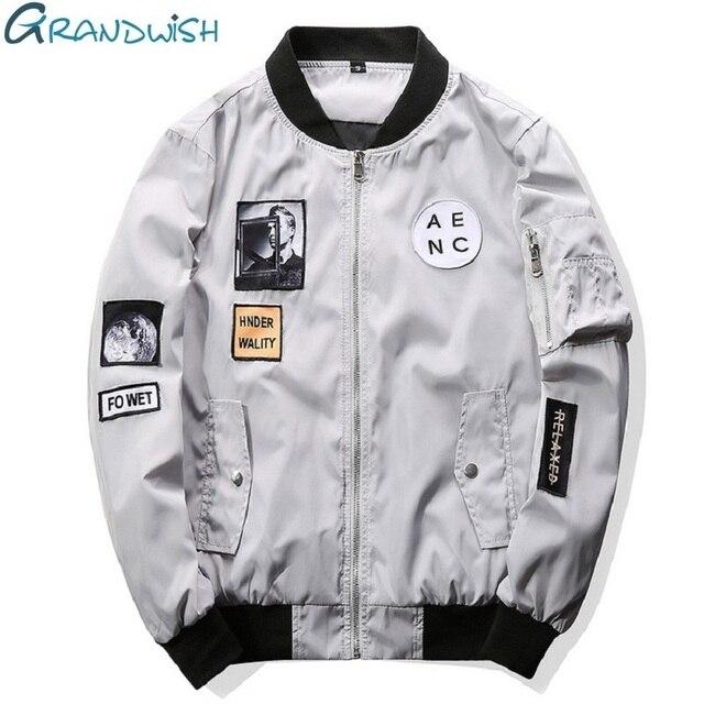 Grandwish Moda Mężczyźni Bombowiec Kurtka Hip Hop Patch Wzory Slim Fit Pilot Bomber Jacket Coat Mężczyźni Kurtki Plus Rozmiar 4XL, PA573