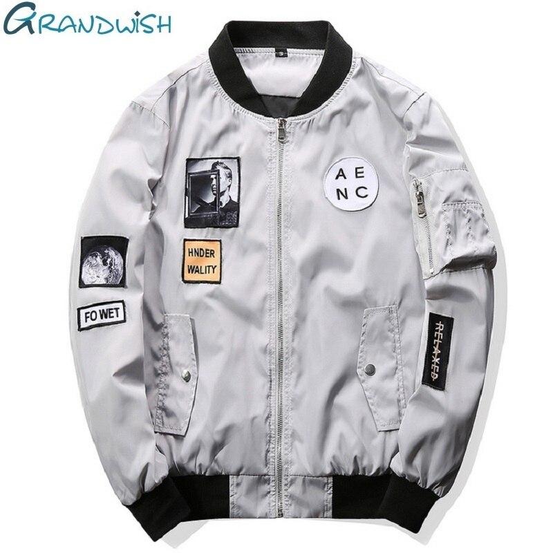 Grandwish Moda hombre bombardero chaqueta hip hop Patch diseños slim fit chaqueta del bombardero del piloto Chaquetas más tamaño 4XL, PA573
