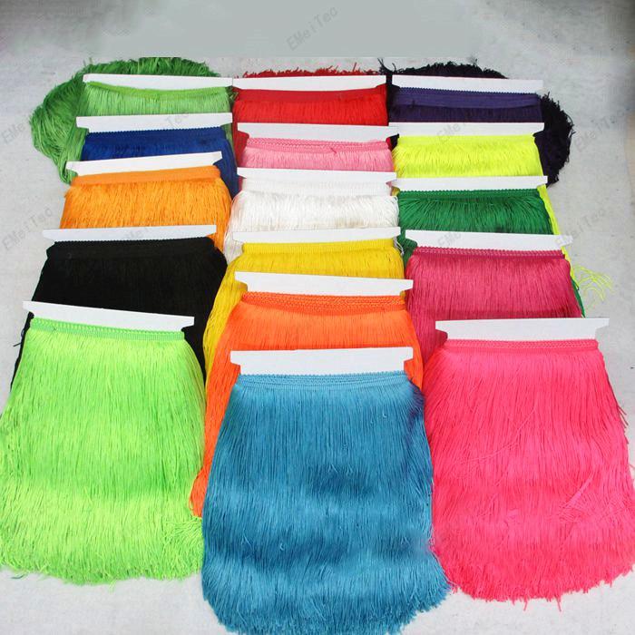 PanlongHome 30CM Längd Polyester Tassel Fringe Trim Afrikanska Spetsband Guipure För Syning Kläder Latin Klänning Tillbehör DIY