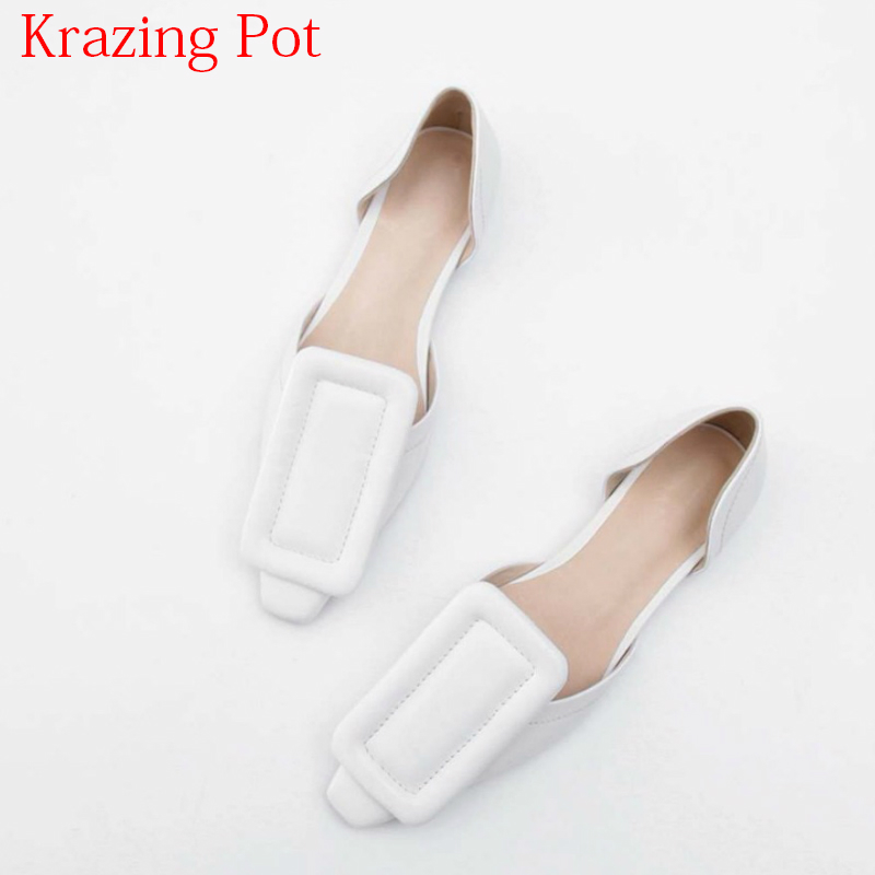 купить 2018 Fashion Genuine Leather Summer Shoes Buckle Low Heels Shallow Women Pumps Square Toe Slip on Sweet Brand Vacation Shoes L77 по цене 3733.1 рублей