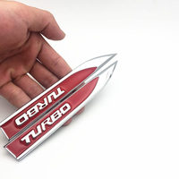 diy car 2pcs/set Metal TURBO Turbocharged Car sticker Logo Emblem Badge Decals Car Styling DIY Decoration Accessories for Frod Bmw Ford (2)