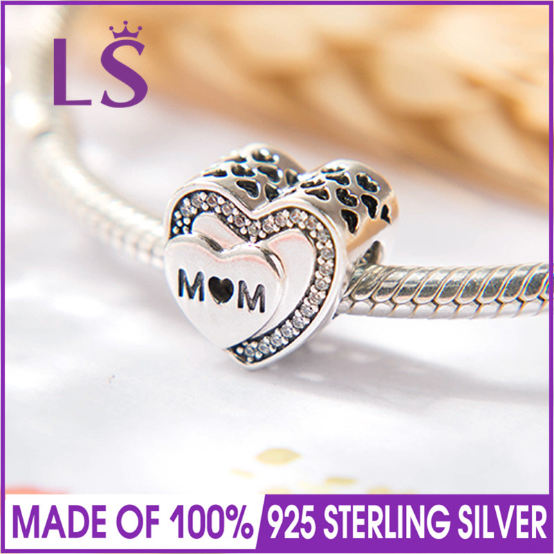 LS New Arrival Real 925 Silver Tribute to Mum Charm Mothers Day Beads Fit Original Bracelets Pulseira Encantos.Fine Jewlery.J