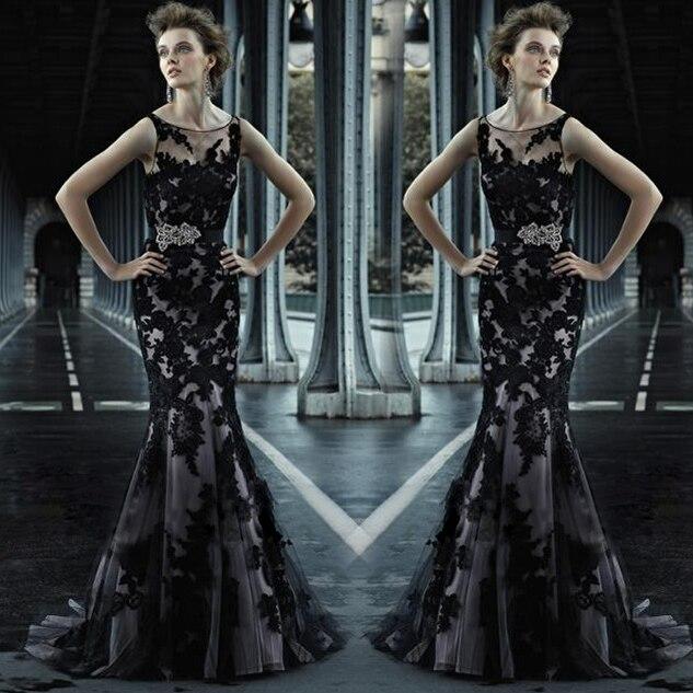 Black Lace Appliques Mermaid Evening Gown 2018 Formal Crystal Robe De Soiree Vestido De Festa Longo Mother Of The Bride Dresses