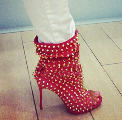 Pic De Botas Mujeres 42 Tacones Zapatos Grandes Becerro Pic 41 Las Cuero Tamaño Mujer Peep Toe as Remaches Finos As HqIxdXFX