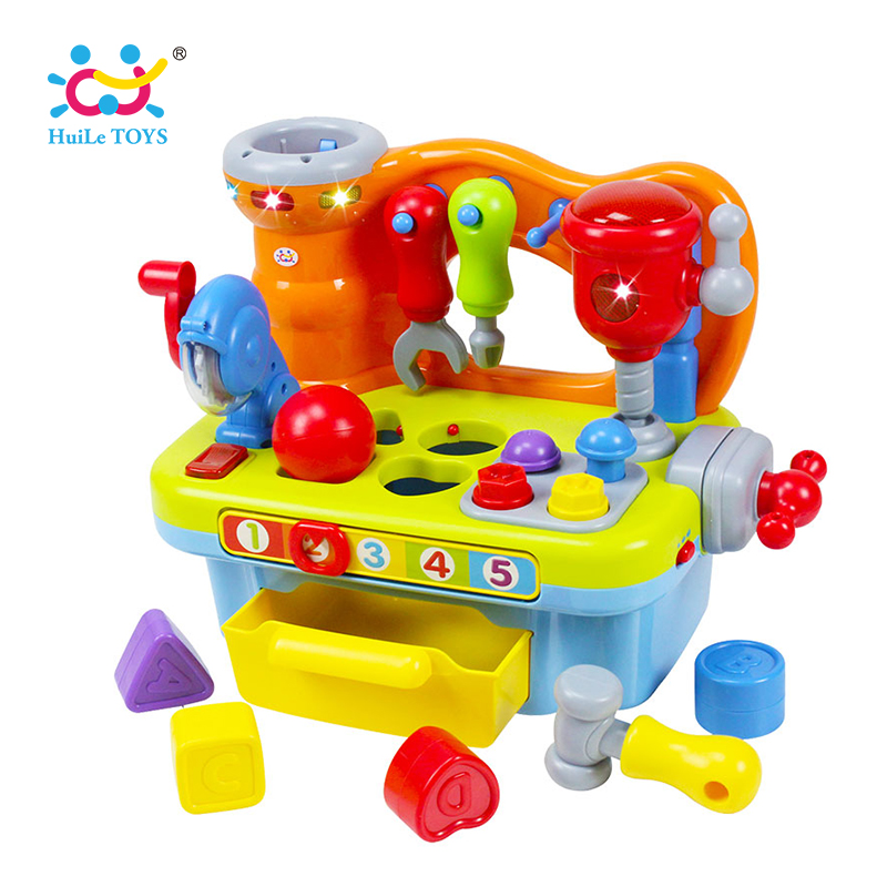 HUILE TOYS 907 Baby Toys Workshop Brinquedos Bebe Juguettes Infant Sounding Tools Kids Early Learning Games Toy Xmas Gifts стоимость