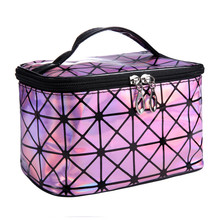 High Quality 3D laser Diamond Pattern Women Ladies Portable Cosmetic Bag Large Capacity Trunk Make Up Bags Zipper Handbag