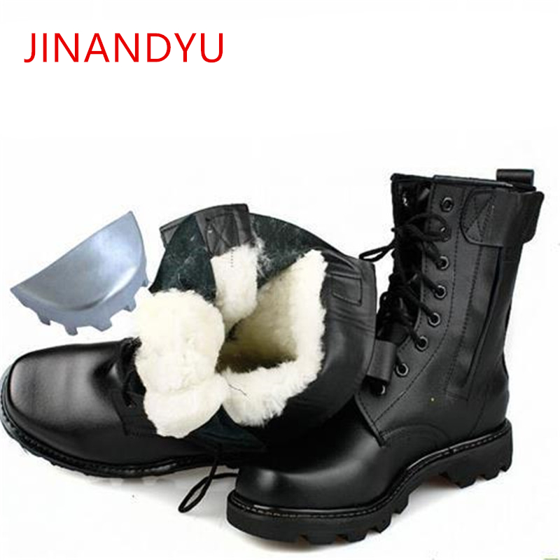Natural Wool Military Boots Men Steel Toe Shoes Winter Mens Genuine Leather Work Boots Cowboy Tactical Boot Men Winter Boots