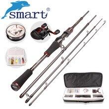 Smart Casting Fishing Set 6.2:1/5+1BB Baitcasting Reel 1.98m M Casting Fishing Rod 100m Nylon Fishing Lure Accessories Tackle