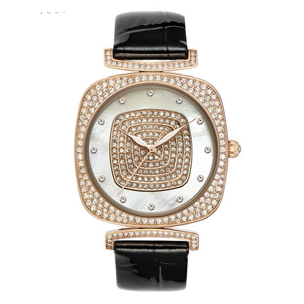 MATISSE Lady Austria Crystal Dial Roman Number Leather Strap Business Fashion Quarzt Watch alloy strap number rhinestone watch