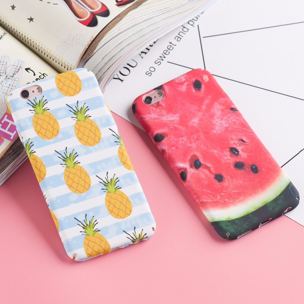 Cute Summer Watermelon Pineapple Delicious Fruit Hard Plastic Matte Phone Cases Cover Fo ...