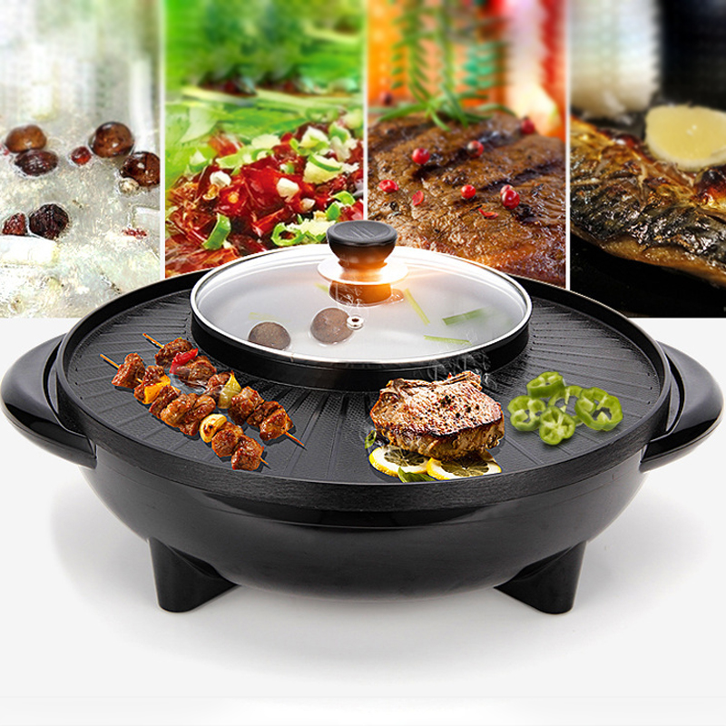 42x17 Cm 2 In 1 Double Electric Grill Soup Pot High Carbon
