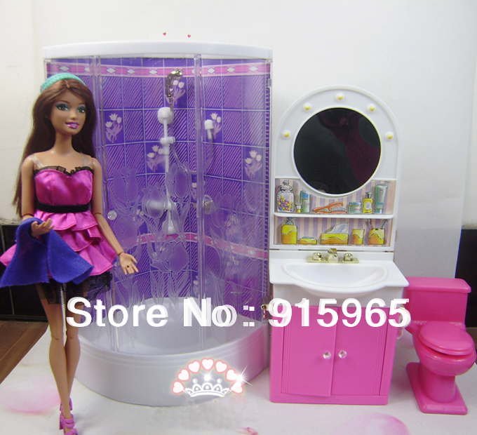 New arrival Christmas gift play house for children bathroom set furniture for barbie doll free shipping new arrival christmas birthday gift children play set doll furniture living room tv accessories for barbie doll