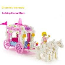 Nova princesa de fadas mágico jardim transporte desfile crianças building blocks set toy compatível com amigos