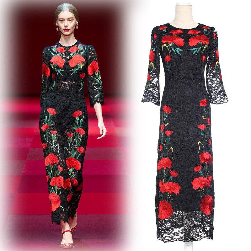 Europe Style Elegant Luxury Flower Embroider Lace Dress 2016 Sprint Summer O Neck Half