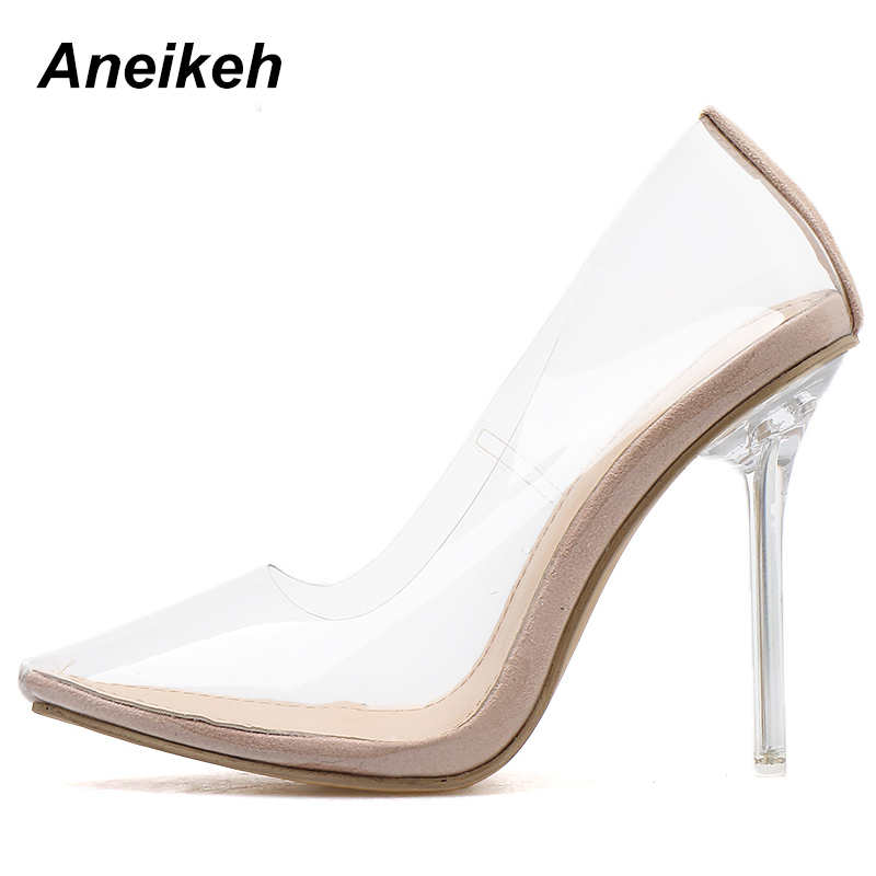 Aneikeh 2020 Concise Fashion PVC Woman Transparent Sandals Thin High Heels Shoes Pointed Toe Pumps Slip Aneikeh 2020 Concise Fashion PVC Woman Transparent Sandals Thin High Heels Shoes Pointed Toe Pumps Slip On Solid Apricot 35-42